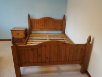 Beautiful solid pine double bed frame and bedside locker