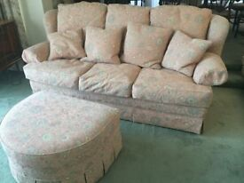 Quality Sofa Suite Parker Knoll - 2 x large sofas, armchair, large footstool vgc