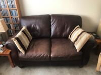 Brown Leather Two Seater Sofa in excellent condition