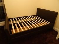 leather double bed + drawers with wheels