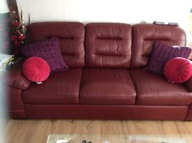 Posting my leather 3&2 seater sofas for swap they are year old like new memory foam seating