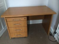 Office desk with four drawer mobile pedestal.