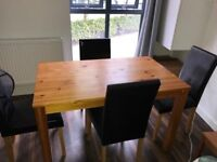 Solid wood dinning table and 4 chairs