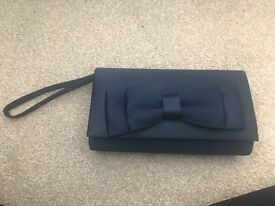 Debenhams blue satin clutch