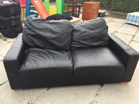 2 Seater Black Leather Sofa - BARGAIN!