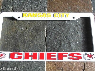 1 Kansas City Chiefs - Raised Graphics - White Plastic License Plate Frame 1 Kansas City Chiefs Framed