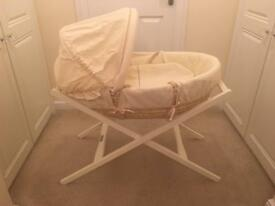 Mamas & Papas Moses Basket and deluxe stand - cost £145