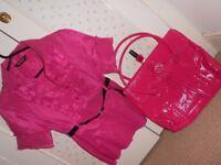 Pink top, pink big handbag, W7 Nail Polish Shocking Pink