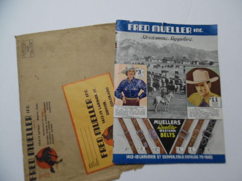1940 Fred Mueller Western Wear Catalog Levis Saddles Stetson Cowboy Hats Vintage