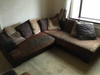BROWN FABRIC / FAUX LEATHER CORNER SOFA WITH ARM CHAIR,CAN DELIVER