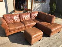 Leather corner sofa with storage foot stall