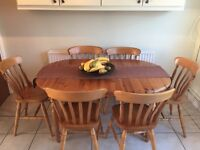 Extendable pine dining room table with six matching chairs cash and collection only