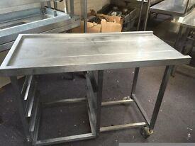 Stainless Steel Table Dishwasher Entry/Exit for commercial kitchen120x57cm H90cm