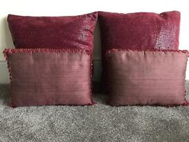 4 designer made cushions and matching headboard