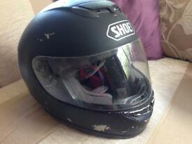 Matte Black Shoei TZ-R Helmet Size Large With 2 Visors (one clear, one blue Iridium tinted)