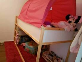 IKEA Bed Frame & Pink Bed Tent