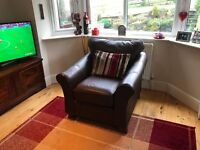 Brown leather armchair, M&S Abbey range