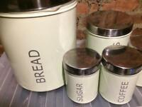 Tea coffee sugar bread and biscuits canisters