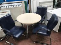 800mm Round Meeting Table & 3 Executive Chairs Package