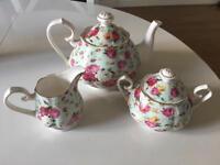 Rose chintz pattern tea set