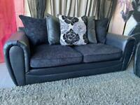 New Monico Fabric And Faux Snakeskin 3 Seater Sofa with Scatter Back Cushions In Black
