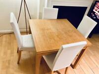 Extendable dining / kitchen / breakfast table & 4 chairs (IKEA Bjursta & Harry)