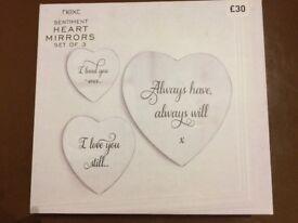 Next sentiment heart mirrors set of 3