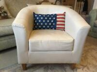 White Tub Chair with Wooden Legs