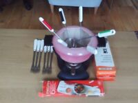 Le Cruset Fondue Set Vintage Dusky Pink Complete With 12 Forks and 6 Burners Hardly Used