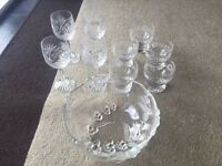 Crystal Glasses (New) + Crystal Bowl + Ice Cream/ Dessert Bowls