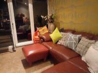 Real leather tan L shaped sofa corner sofa with pouffe