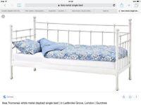 IKEA single metal bed frame in ivory