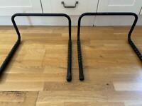 Two wall mounted bike racks