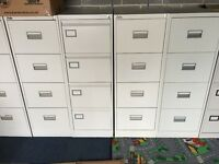 4 DRAWER SILVER METAL FILING CABINETS