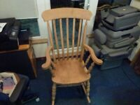 Solid Beech Wooden Farmhouse Rocking Chair RH10 nr Gatwick 10 mins from M23