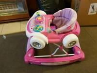 Pink car walker/rocker