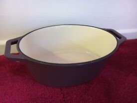 Purple Out and White Interior Handles - Heavy Casserole Dish - Non Stick Oven Bake - Ovenproof Tray