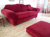 Two Beautiful 3 seater sofas and footstool. Delivery can be arranged