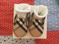 Genuine burberry 0-3 check booties worn once