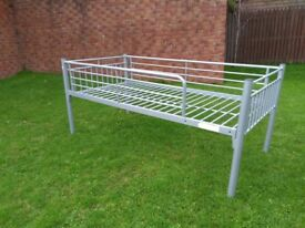 Metal frame single high line bed - Ideal for young child moving into bigger bed.