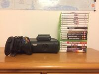 Xbox 360 Elite with wireless connector and 19 games