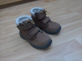 Next boys brown suede leather boots with furry lining UK size 12 EUR 30