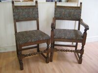 Set of 6 Vintage Solid Oak Kitchen / Dining Chairs - Very good clean condition