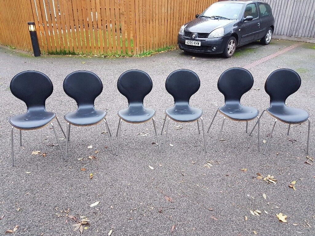 6 Bentwood & Black Leather Chairs FREE DELIVERY