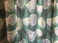 CURTAINS FULLY LINED MATCHING CUSIONS & GREY POLE