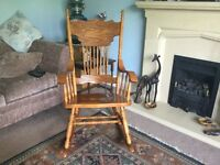 Solid Pine Rocking Chair with attractive detail