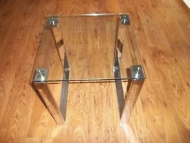 Glass top lamp table for sale