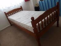 Pine, single bed with mattress