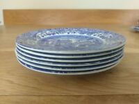 6 Spode Blue Italian Plates (7.5inches)