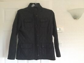Black quilted fleece lined Barbour Jacket, size 14